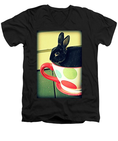 Cup O' Rabbit Men's V-Neck T-Shirt by Valerie Reeves