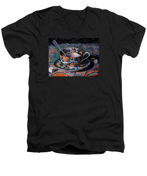 Cup Of Tea And Sugar Cubes Men's V-Neck T-Shirt by Amy Fearn