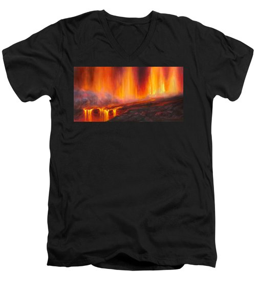 Erupting Kilauea Volcano On The Big Island Of Hawaii - Lava Curtain Men's V-Neck T-Shirt
