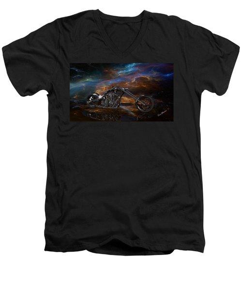 Custom Black Chopper Men's V-Neck T-Shirt