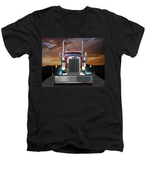 Custom Peterbilt Men's V-Neck T-Shirt by Stuart Swartz