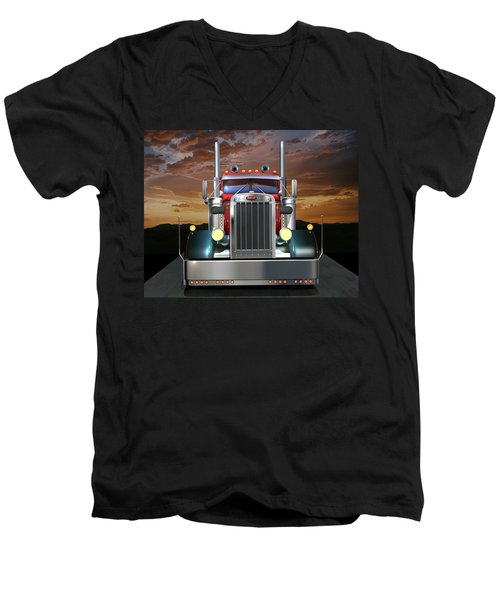 Custom Peterbilt Men's V-Neck T-Shirt
