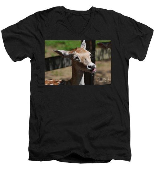 Cute Deer Men's V-Neck T-Shirt by DejaVu Designs
