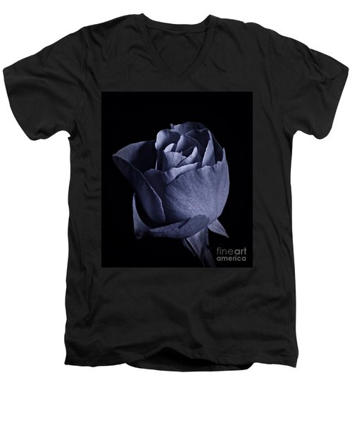 Cyan Rose Portrait Men's V-Neck T-Shirt