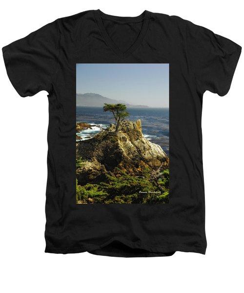 Cypress Men's V-Neck T-Shirt by Donna Blackhall