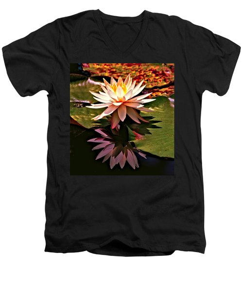Men's V-Neck T-Shirt featuring the photograph Cypress Garden Water Lily by Bill Barber