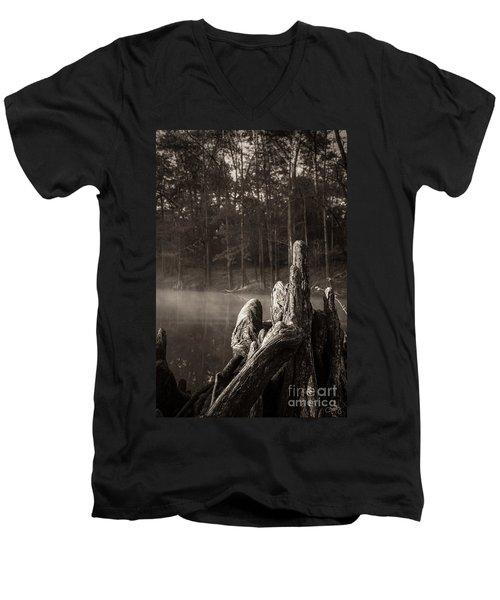 Cypress Knees In Sepia Men's V-Neck T-Shirt