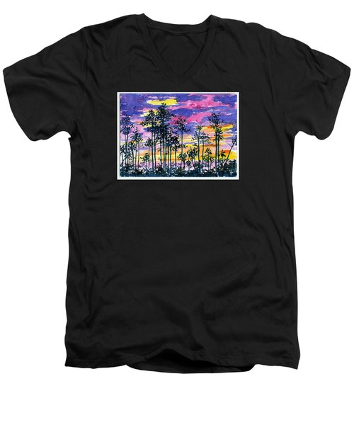 Cypress Sunset Men's V-Neck T-Shirt by Anne Marie Brown