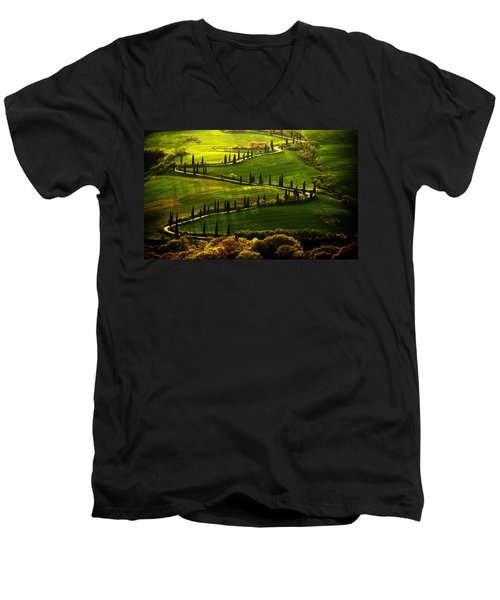 Cypresses Alley Men's V-Neck T-Shirt by Jaroslaw Blaminsky