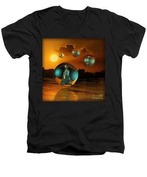 Men's V-Neck T-Shirt featuring the digital art Cyrstal Children Of Sun by Rosa Cobos