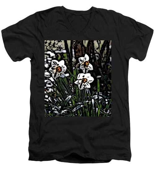 Men's V-Neck T-Shirt featuring the digital art Daffodil by David Lane