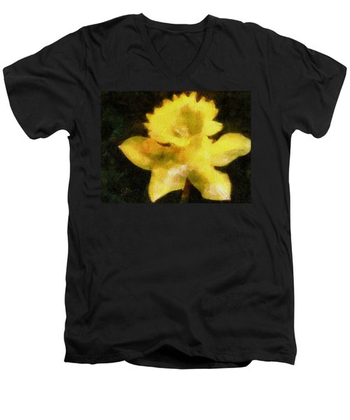 Men's V-Neck T-Shirt featuring the painting Daffodil by Greg Collins