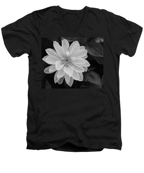 Dahlia Men's V-Neck T-Shirt by Ellen Henneke