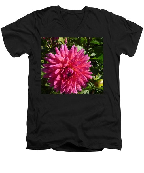 Men's V-Neck T-Shirt featuring the photograph Dahlia Pink by Susan Garren