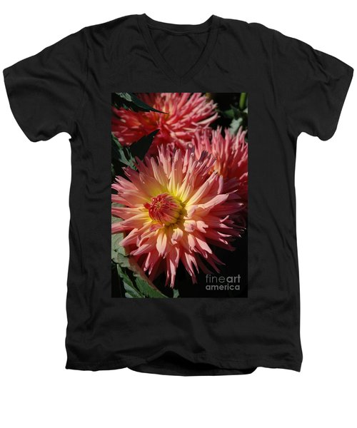 Men's V-Neck T-Shirt featuring the photograph Dahlia Viii by Christiane Hellner-OBrien