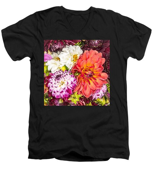 Dahlias Number 4 Men's V-Neck T-Shirt