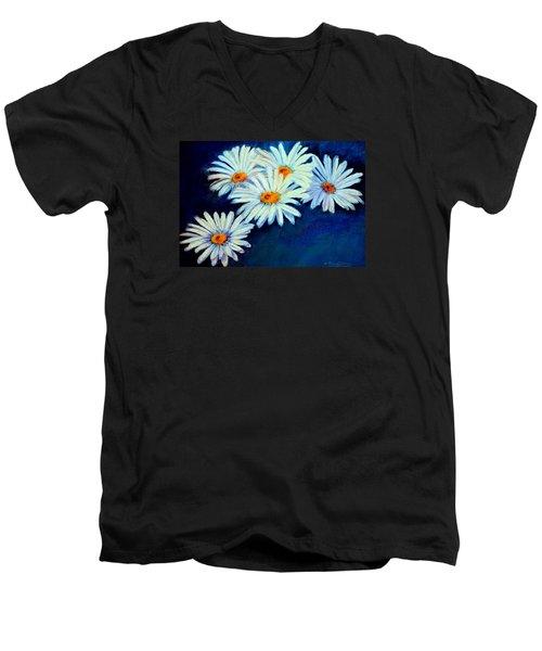 Men's V-Neck T-Shirt featuring the pastel Daisy Fever  Pastel by Antonia Citrino
