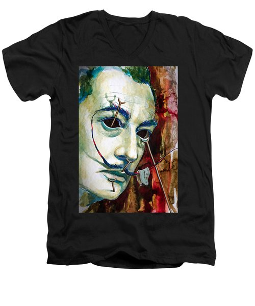 Men's V-Neck T-Shirt featuring the painting Dali 2 by Laur Iduc