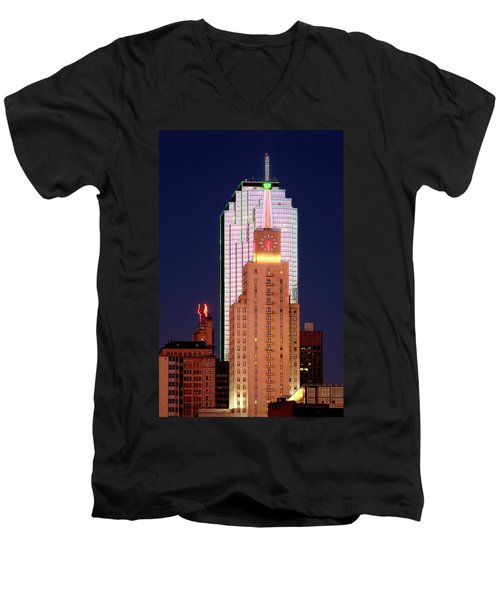 Men's V-Neck T-Shirt featuring the photograph Dallas At Dawn by David Perry Lawrence
