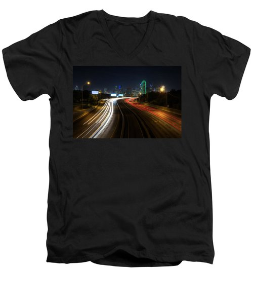 Dallas Night Light Men's V-Neck T-Shirt by Jonathan Davison