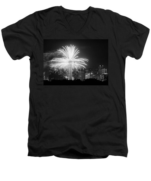 Dallas Reunion Tower Fireworks Bw 2014 Men's V-Neck T-Shirt