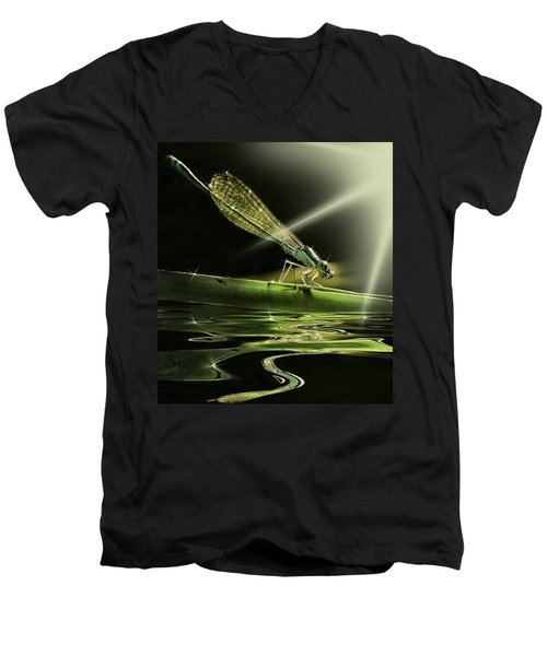 Damsel Dragon Fly  With Sparkling Reflection Men's V-Neck T-Shirt