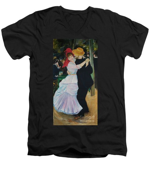 Men's V-Neck T-Shirt featuring the painting Dance At Bougival Renoir by Eric  Schiabor