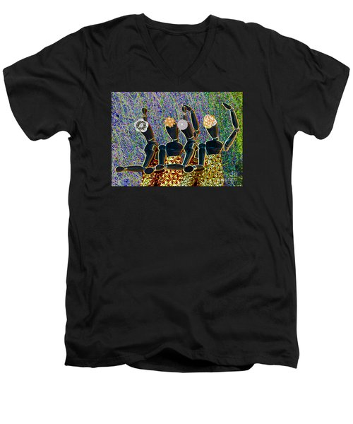 Men's V-Neck T-Shirt featuring the photograph Dance Party by Nareeta Martin