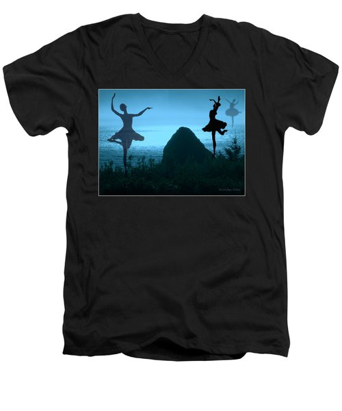 Men's V-Neck T-Shirt featuring the photograph Dance Of The Sea by Joyce Dickens