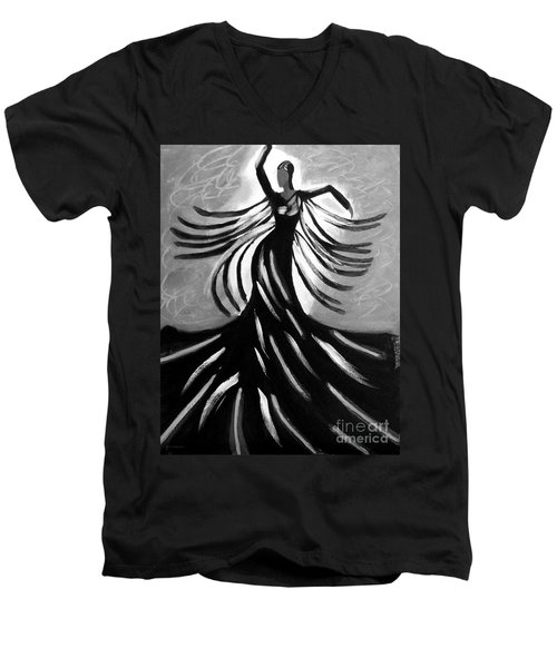 Men's V-Neck T-Shirt featuring the painting Dancer 2 by Anita Lewis