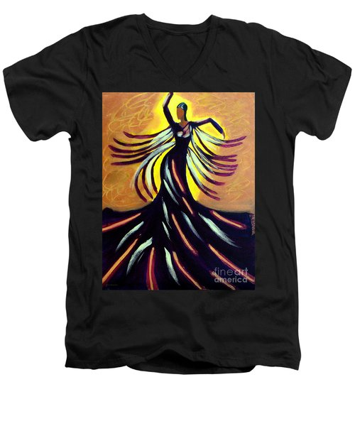 Men's V-Neck T-Shirt featuring the painting Dancer by Anita Lewis