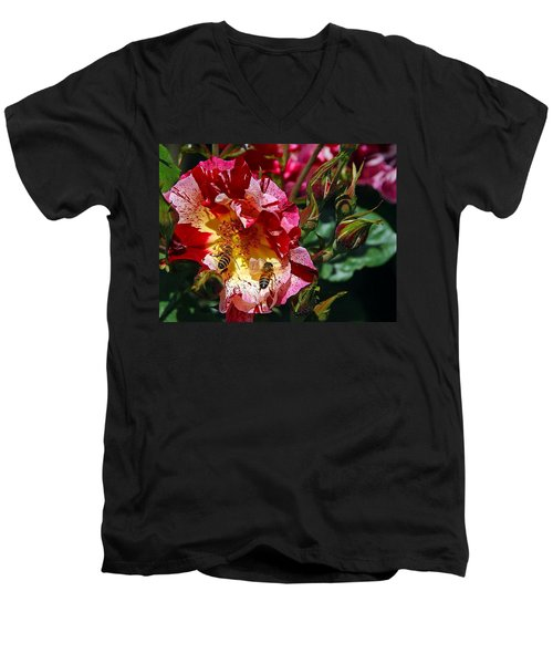Dancing Bees And Wild Roses Men's V-Neck T-Shirt by Absinthe Art By Michelle LeAnn Scott