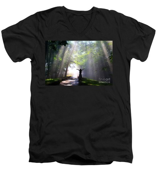 Dancing In God's Light Copyright Willadawn Photography Men's V-Neck T-Shirt by Melissa Petrey