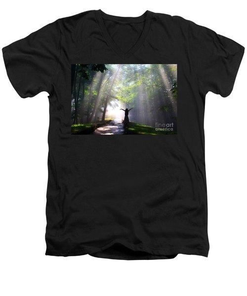 Dancing In God's Light Copyright Willadawn Photography Men's V-Neck T-Shirt