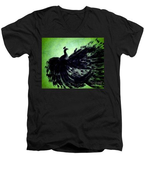 Men's V-Neck T-Shirt featuring the digital art Dancing Peacock Green by Anita Lewis