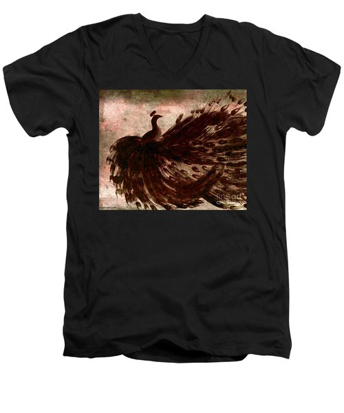 Men's V-Neck T-Shirt featuring the painting Dancing Peacock Grey by Anita Lewis