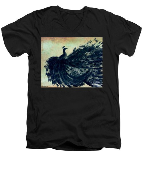 Dancing Peacock Mint Men's V-Neck T-Shirt by Anita Lewis