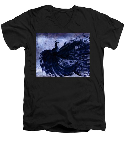 Men's V-Neck T-Shirt featuring the painting Dancing Peacock Navy by Anita Lewis