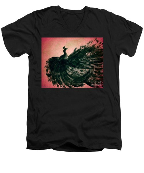 Men's V-Neck T-Shirt featuring the digital art Dancing Peacock Pink by Anita Lewis