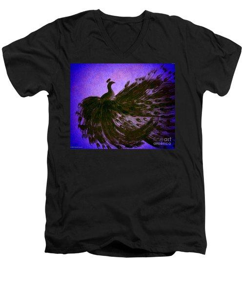 Men's V-Neck T-Shirt featuring the digital art Dancing Peacock Vivid Blue by Anita Lewis