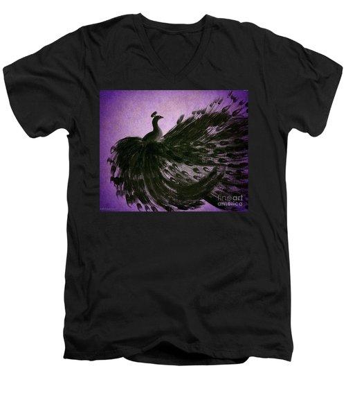 Men's V-Neck T-Shirt featuring the digital art Dancing Peacock Vivid Purple by Anita Lewis