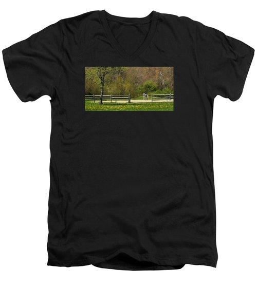 Men's V-Neck T-Shirt featuring the photograph Dandelion Dressage by Joan Davis