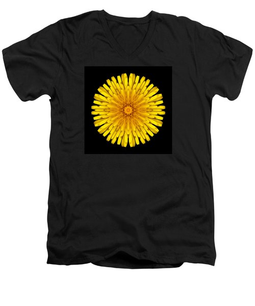 Dandelion Flower Mandala Men's V-Neck T-Shirt by David J Bookbinder