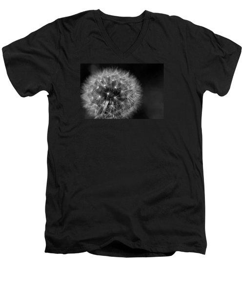 Men's V-Neck T-Shirt featuring the photograph Dandelion Fluff by Rebecca Davis
