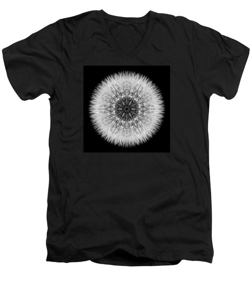 Dandelion Head Flower Mandala Men's V-Neck T-Shirt by David J Bookbinder