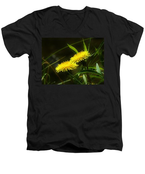 Men's V-Neck T-Shirt featuring the photograph Dandelions by Sherman Perry