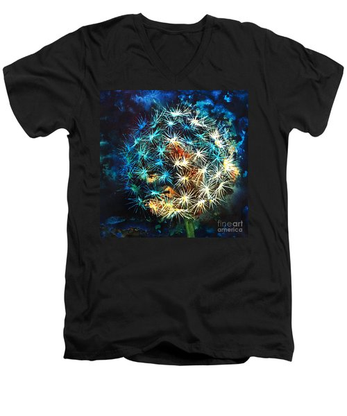 Men's V-Neck T-Shirt featuring the painting Dandy Puff by Kathy Braud
