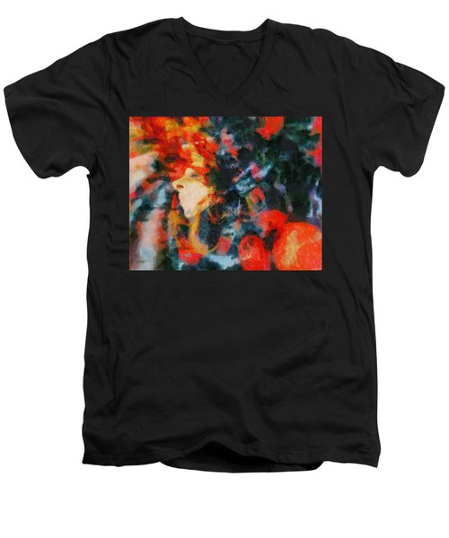 Men's V-Neck T-Shirt featuring the painting Dangerous Passion by Joe Misrasi