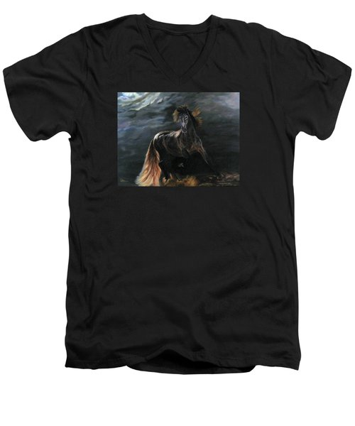 Dappled Horse In Stormy Light Men's V-Neck T-Shirt by LaVonne Hand