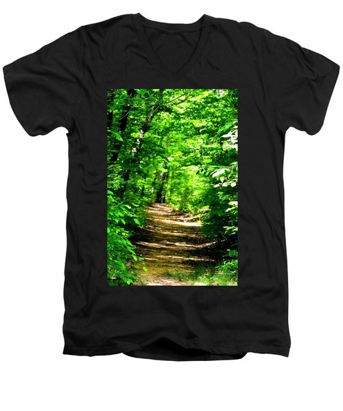 Dappled Sunlit Path In The Forest Men's V-Neck T-Shirt